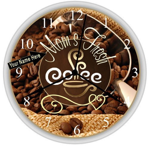 The perfect mother 39 s day gift idea personalized coffee cup decor kitchen wall clock custom made - Coffee themed wall clocks ...