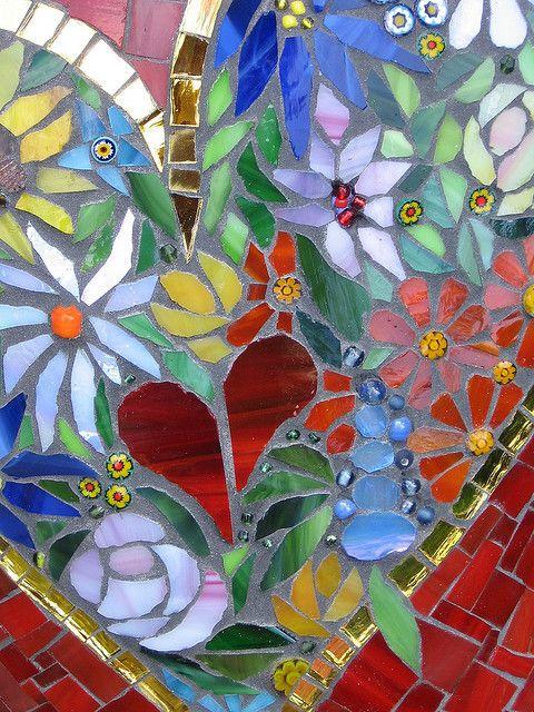 "Stone ""Blossom heart"" detail by Herzstücke Mosaic Masks, via Flickr"