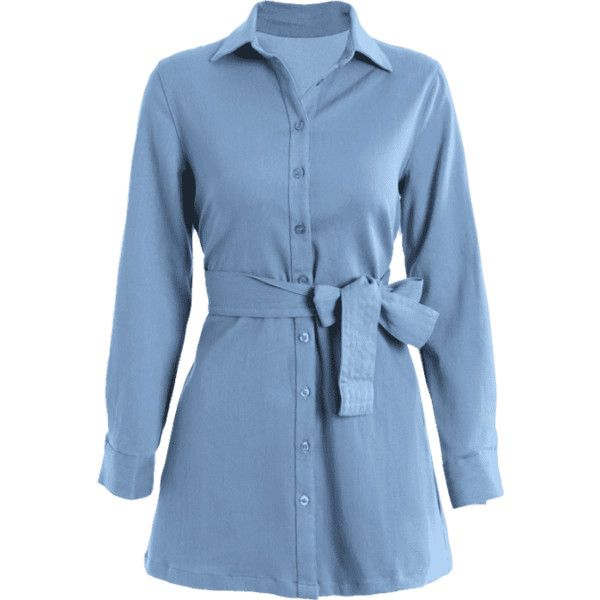 Long Sleeve Belted Denim Shirt Dress ($27) ❤ liked on Polyvore featuring dresses, blue long sleeve dress, mini dress, denim mini dress, short dresses and denim dress