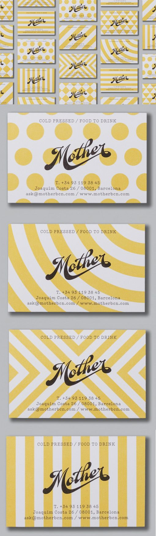 Bold Patterns Show Off Great Typography On A Business Card For A Natural Beverage Company