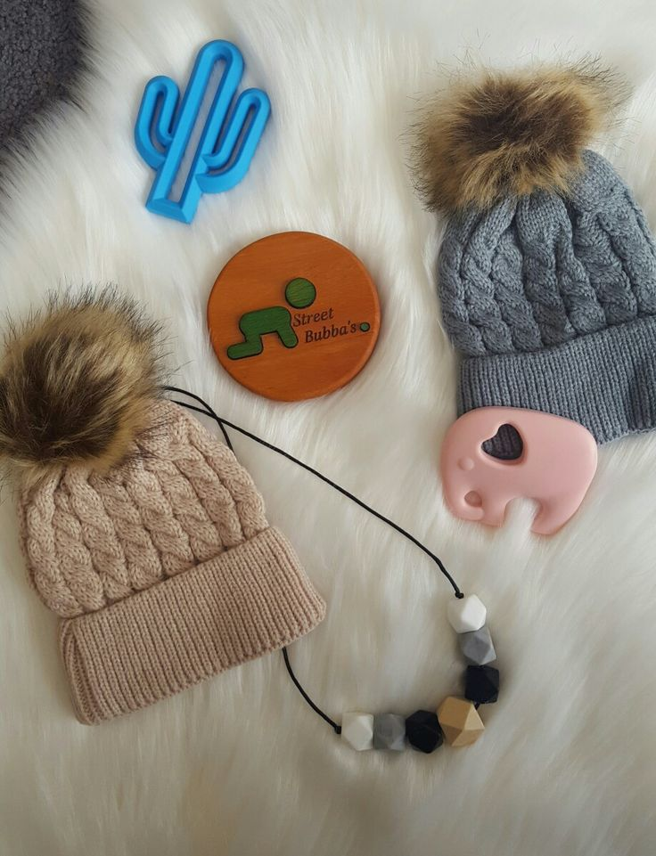 Toddler Pom Pom Beanies - white/beige/grey available. AFTERPAY also available!