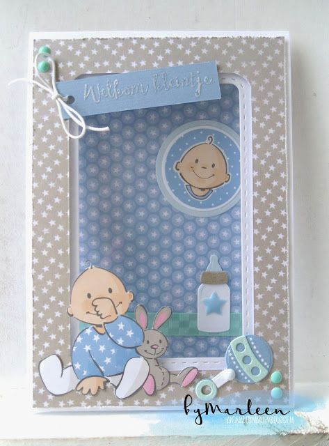 Handmade card by DT member Marleen with Craftables Basic Stitch Passepartout Rectangle (CR1390) and Collectables Eline's Baby Essentials (COL1421) from Marianne Design