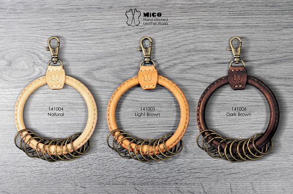 Big circle leather key ring holder от MicoHandicraft на Etsy