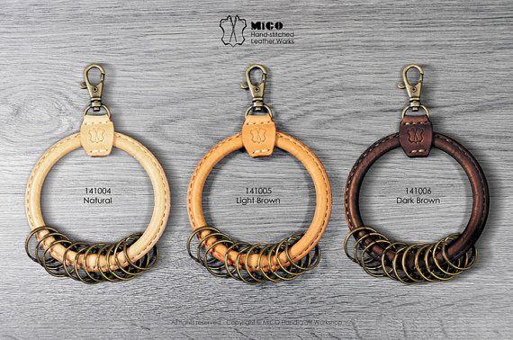 Big circle leather key ring holder от MicoHandicraft на Etsy