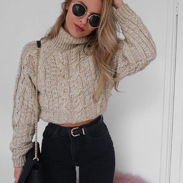 FREE SHIPPING Women Winter Sweater Short Twist Pattern Bottoming Warm Pullover JKP336