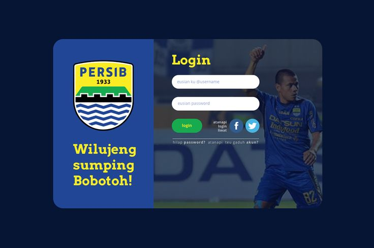 Web Login Screen Persib - UI UX Design on Behance