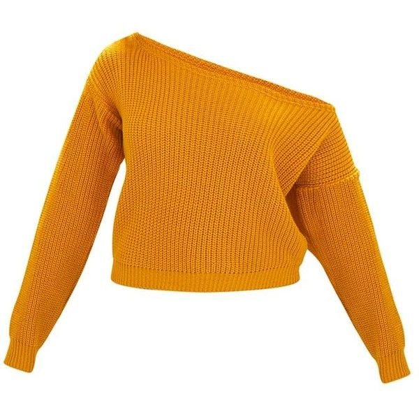 Mustard Off Shoulder Knitted Crop Jumper ($22) ❤ liked on Polyvore featuring tops, sweaters, off the shoulder jumper, orange top, crop top, mustard yellow crop top and orange sweater