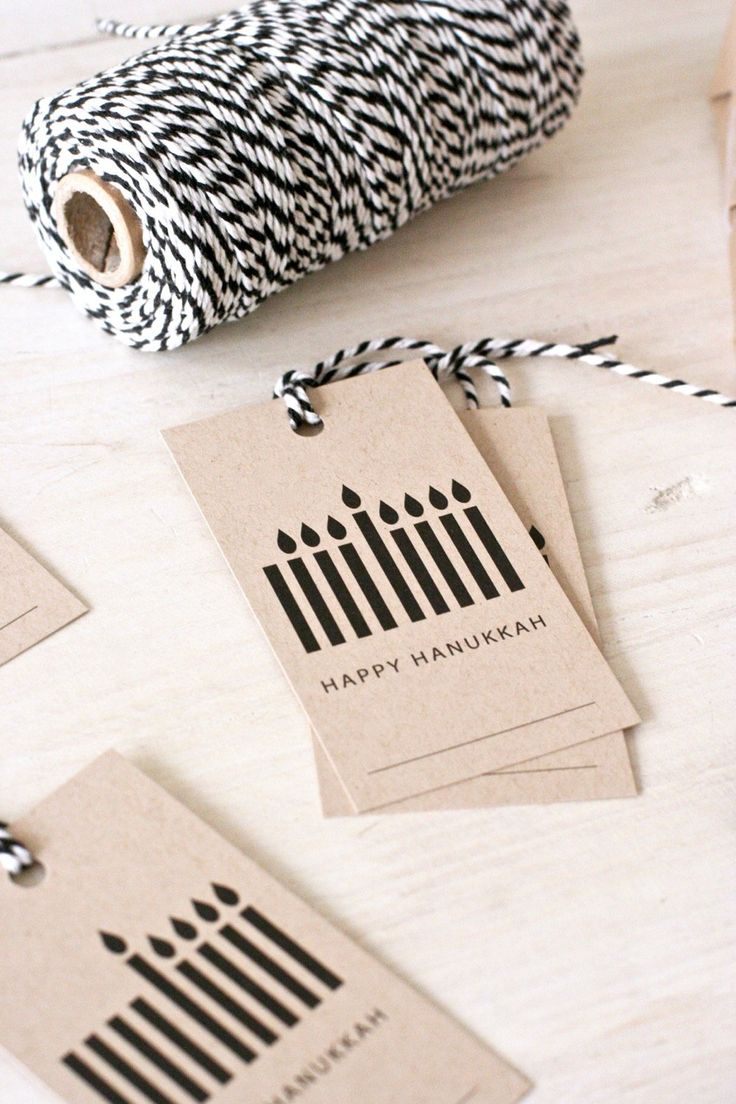 Kraft Menorah Hanukkah Gift Tags, set of 8 - although I have a wonderful rubber stamp and can make these myself by not inking in the candles for the days!!  great idea