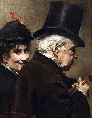 De Wandeling (vader en dochter) by David Oyens (Dutch 1842-1902)