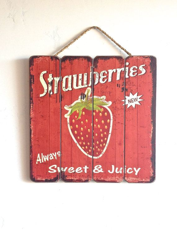 Strawberry Sign Wooden Sign Home Decor Red and by honeywoodhome, $29.95