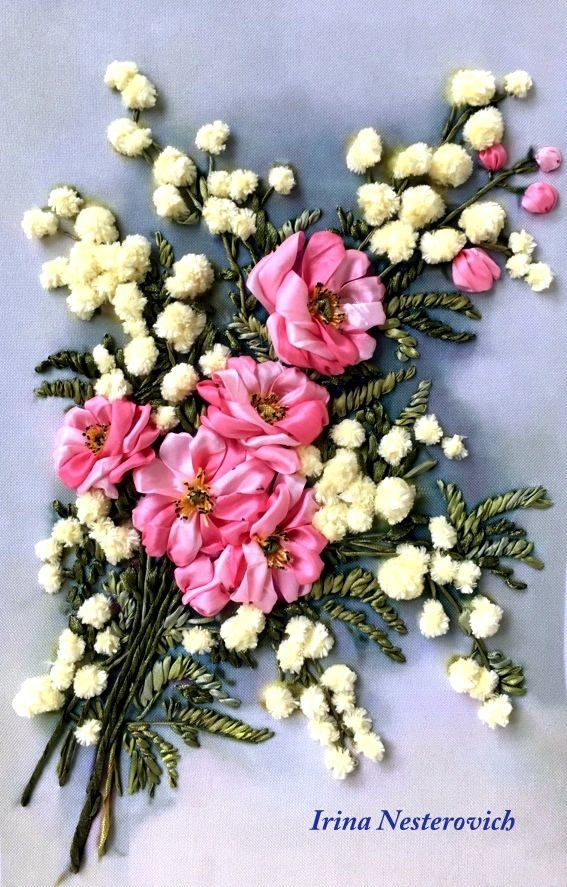 Embroidered picture  Embroidery with silk ribbons  30 х 20 not