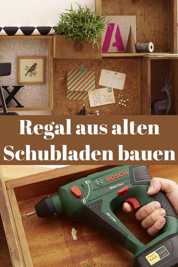 Schubladen müssen nicht nur in der Kommode verschwinden. Man kann sie auch an die Wand hängen und ein Regal aus Schubladen bauen!  #upcycling #upcyclen #schrank #regal #schublade #selbermachen #diy