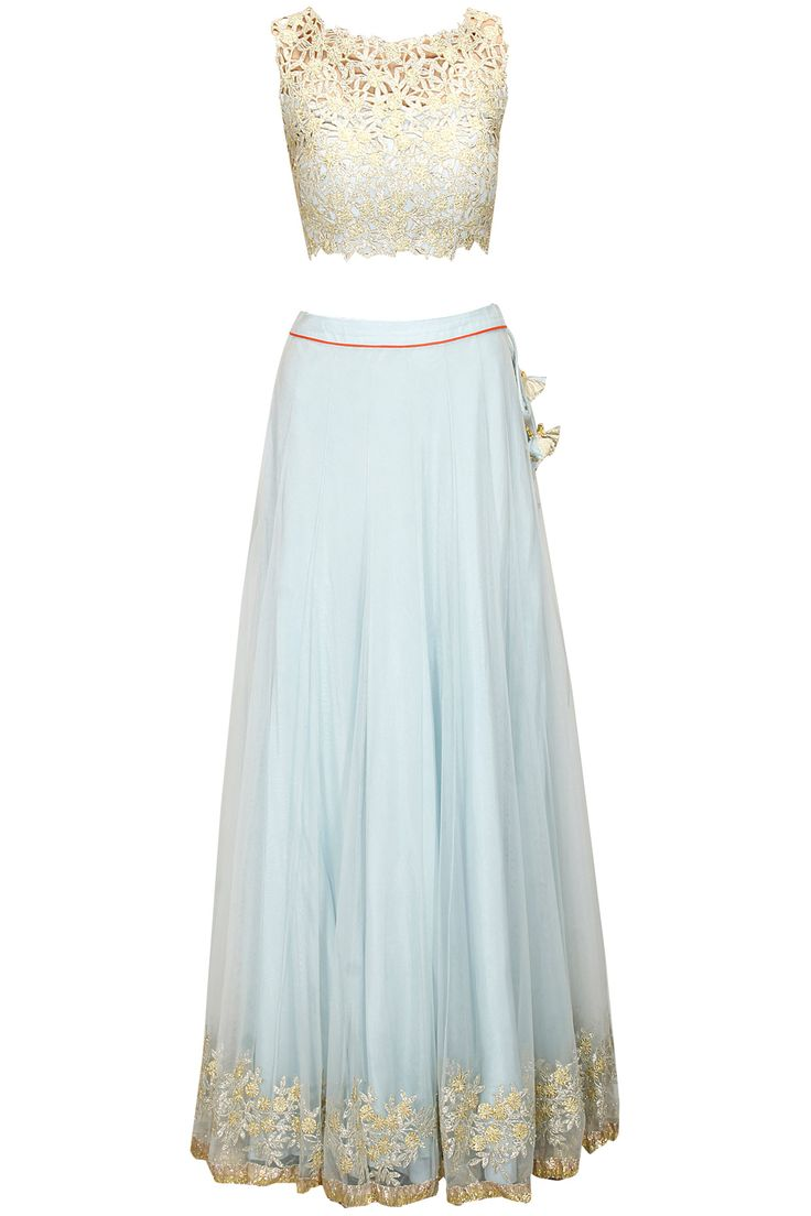 Pale blue embroidered lehenga set with coral dupatta by Amrita Thakur. Shop now: http://www.perniaspopupshop.com/designers/amrita-thakur #lehenga #blue #amritathakur #perniaspopupshop #shopnow #happyshopping