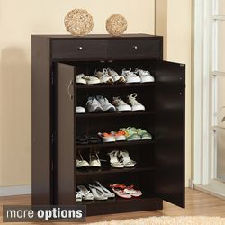 Five Shelf Shoe Cabinet with Two Upper Storage Bins