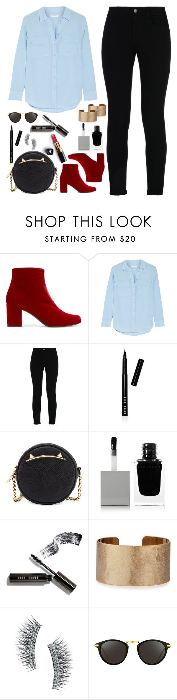 """""""Velvet Boots"""" by andreearucsandraedu ❤ liked on Polyvore featuring Yves Saint Laurent, Equipment, STELLA McCARTNEY, Bobbi Brown Cosmetics, Betsey Johnson, Chanel, Givenchy, Panacea, Kre-at Beauty and Linda Farrow"""