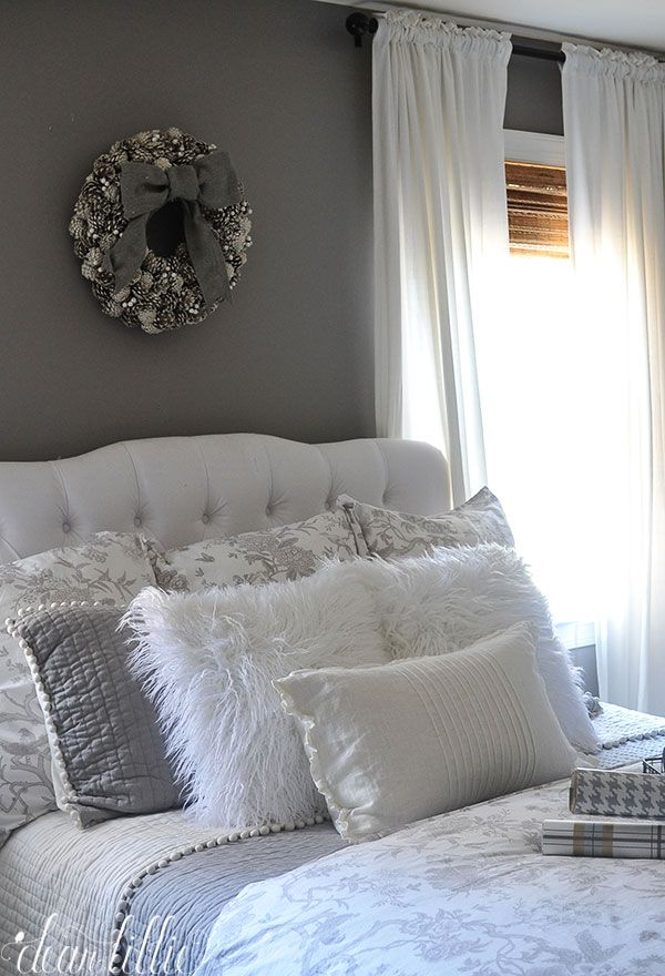 These fluffy white pillows from @homegoods added such a fun and cozy touch to our winter wonderland themed gray guest bedroom and make a welcoming feel for our visitors this Christmas. (Sponsored pin)