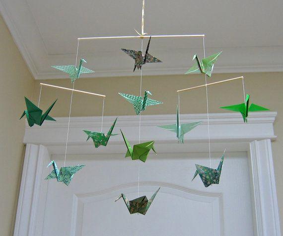 Green Origami Crane Mobile - Home Decor - Nursery Decor on Etsy, $30.00