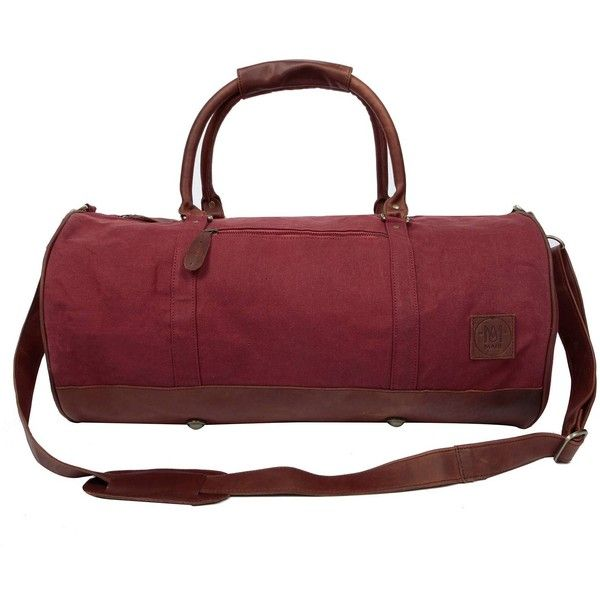 MAHI Leather - Leather Classic Duffle Overnight/Gym Bag in Red Canvas ($175) ❤ liked on Polyvore featuring men's fashion, men's bags, mens canvas bag, mens leather gym bag, mens leather duffle bag, mens leather bag and men's canvas duffle bag