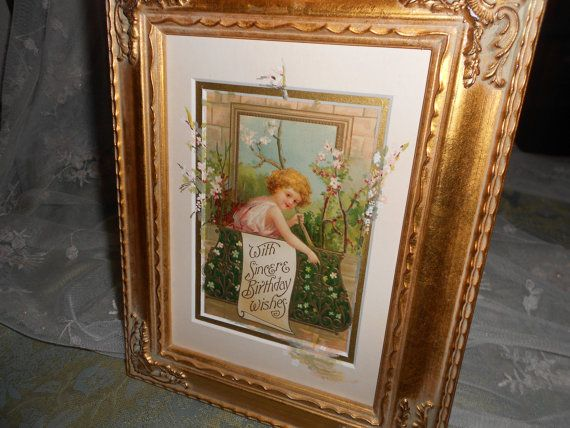 Happy Birthday Wishes Antique Post Card w/ by RoseManorGiftsandArt
