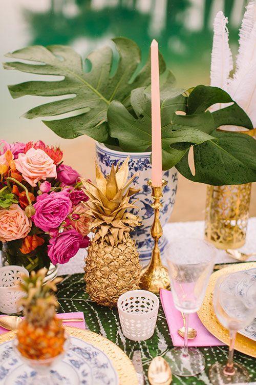 decoration de table mariage ananas