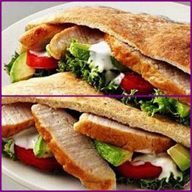 Pan de pita relleno de lomo y ensalada