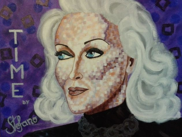 Time by STEFANO acrylic on canvas(50x60cm) fashion art Carmen Dell'orefice 2014