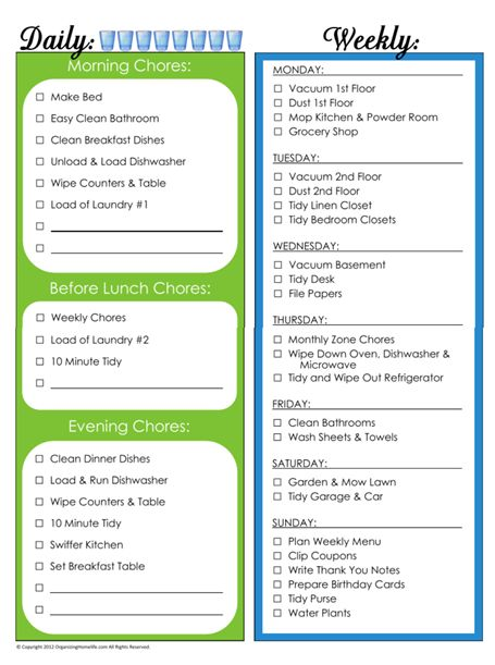 Daily & Weekly Chore Schedule Maybe for the summer?? Made my schedule to look like this with just some tweaks.