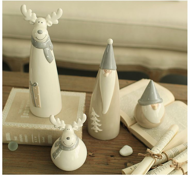 Zakka Stuff - Miz Home 1 Piece Ceramic Christmas Decor Doll for Home Santa Claus And Deer Gift for Friend NAR01001.