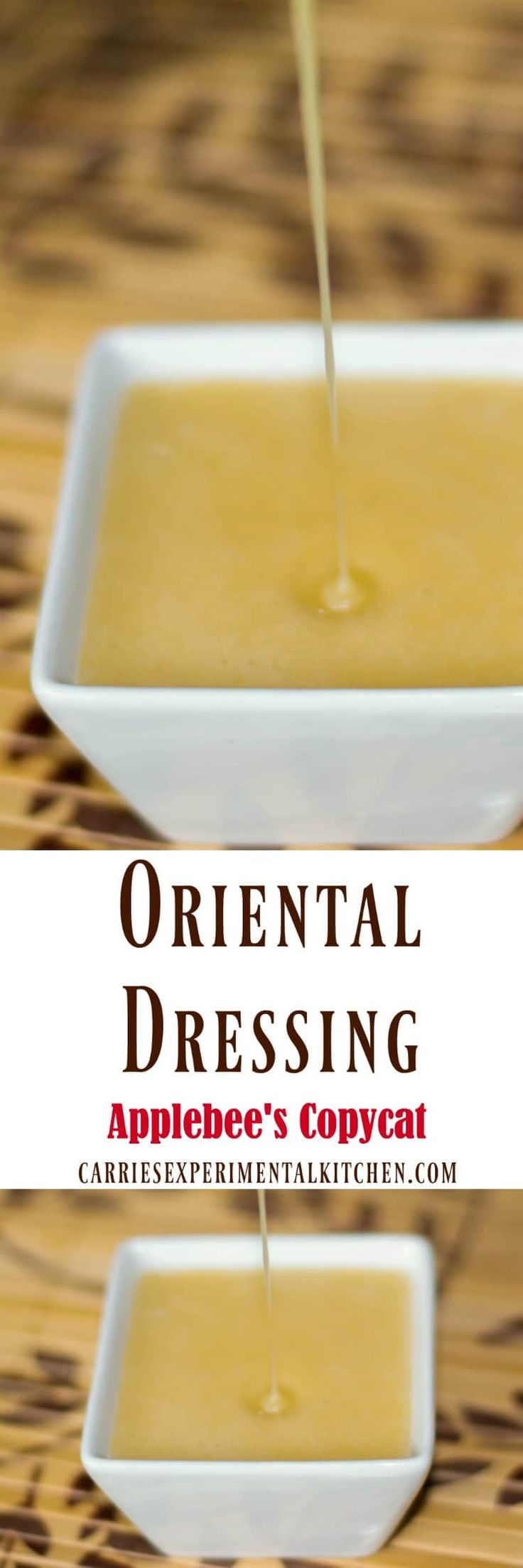 Make Applebee's Oriental Dressing in the comfort of your own home. It's perfect on salad or sandwiches and the family is going to love it!