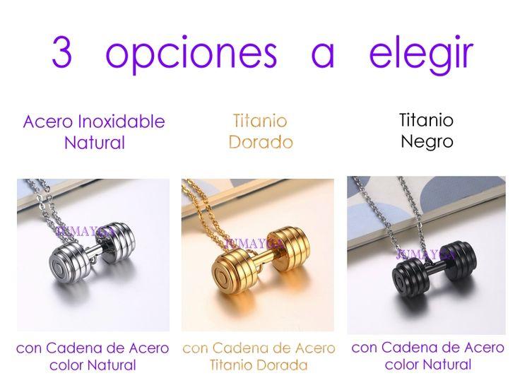 Dije Mancuernas Pesas Con Cadena Acero Inox - Titanio - Gym - $ 300.00 en Mercado Libre