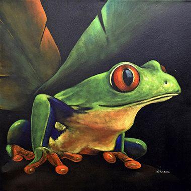 En simple contraste sur un fond noir obscur, les couleurs de cette grenouille aux yeux rouges donnent de la vie à ce canevas peint à la main.