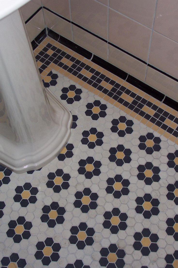 Winckelmans blooming bathroom hex tiles in Noir Super