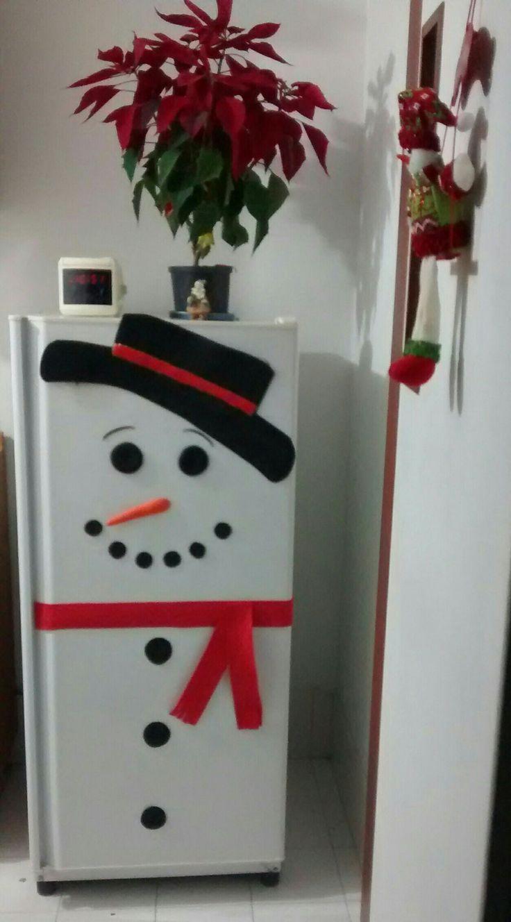Navidad, refrigerador, nevera, muñeco de nieve, snowman, decoración, DIY, manualidades