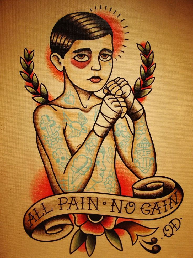 All Pain, No Gain.  Boxing Traditional tattoo.