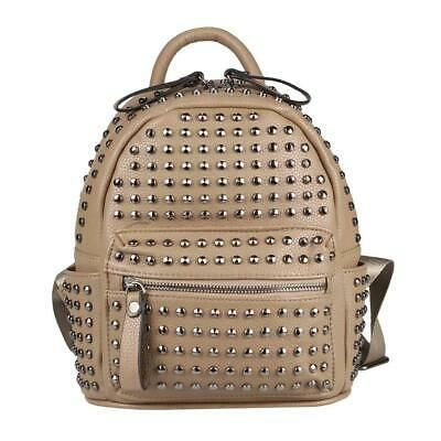 DAMEN NIETEN RUCKSACK Cityrucksack Punk Backpack Schultertasche Leder Optik Bag:… #handtasche