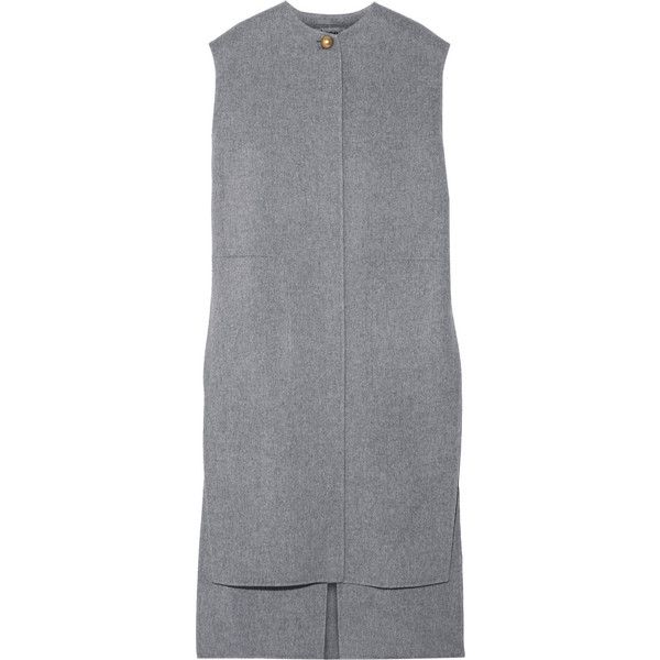 Acne Studios Vento oversized wool and cashmere-blend vest (25.192.790 VND) ❤ liked on Polyvore featuring outerwear, vests, dresses, jackets, vestidos, grey, reversible vest, gray vest, acne studios and vest waistcoat