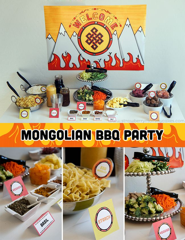 Mongolian BBQ Party! Choose your own meat, veggies, spices, sauces and starch and cook it all together.