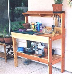 Create a Unique Place to Grow With These Free Potting Bench Plans: Free Potting Bench Plan at Sherry's Greenhouse
