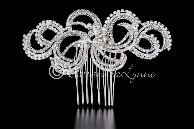 Wedding Hair Comb of Modern Rhinestone Swirls from Cassandra Lynne