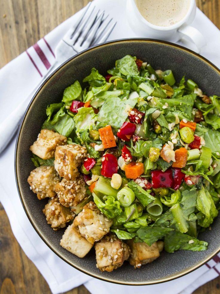 Thai Peanut Salad with Crispy Sesame Tofu | Veggie and the Beast