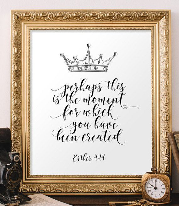Nursery Bible Verse Art, Scripture Art Print, Esther 4:14, Inspirational  Quote, Printable Verses, Christian Wall Art, Teen Room Decor BD 681