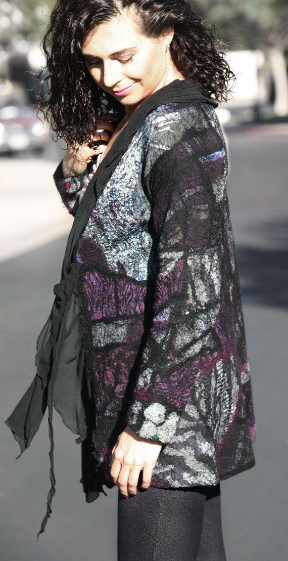 Nuno felted eco-friendly elegant black gray burgundy by GBDesign