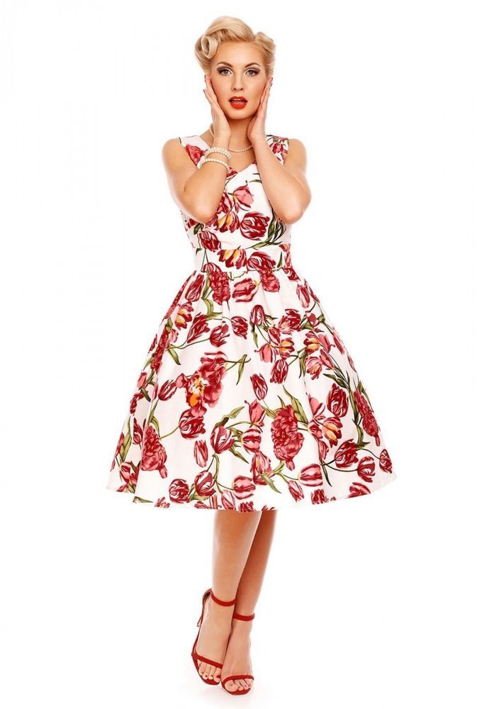 0b551fe4312149 Dolly and Dotty Tulip 1950s Vintage Retro Pinup Rockabilly Dress ...