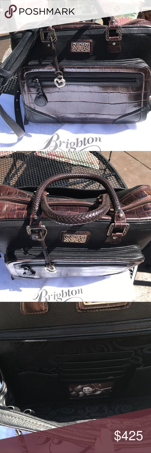 Brighton❤️ Keaton 🌸 Briefcase 💼 w/ laptop pouch 4th 🎉 July SALE Brighton Keaton Briefcase w/Blk-Choc signature detailing. Recently reconditioned. Front zip closure w/organized interior. Also includes pull out laptop pouch w/ signature styling. This is a rare Brighton piece in excellent condition! Brighton Bags Travel Bags