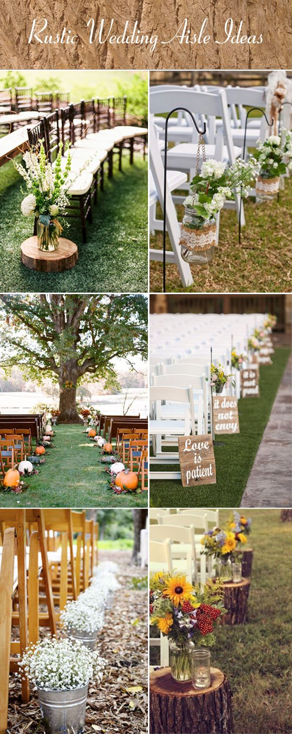 rustic ceremony aisle ideas for fall wedding