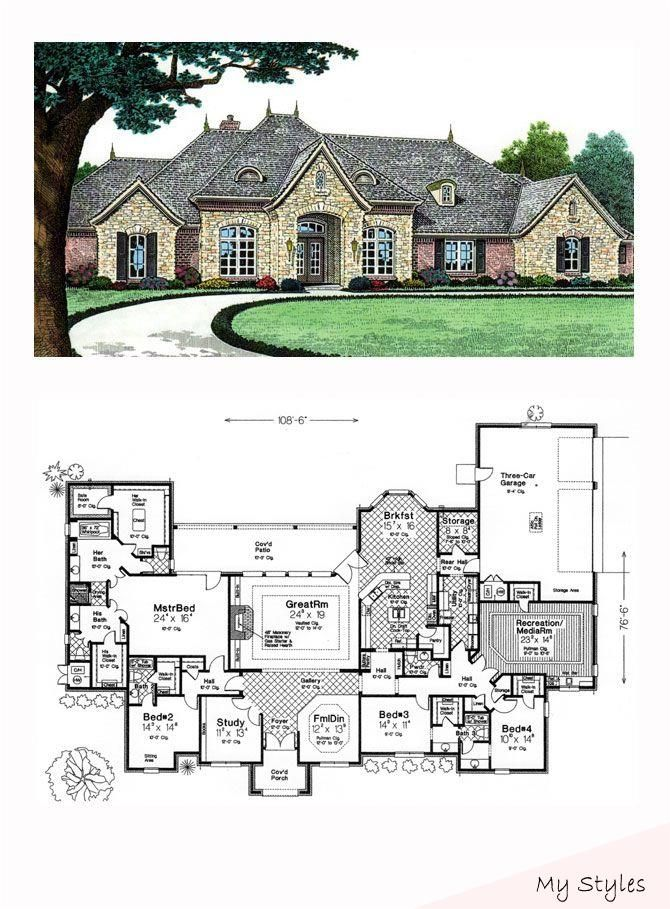 May 15 2015 Luxury House Plan 66240 Total Living Area 4599 Sq Ft 4 Bedrooms And 3 5 Bathrooms Luxuryhome In 2020 Haus Interieurs Luxushaus Traumhaus Plane