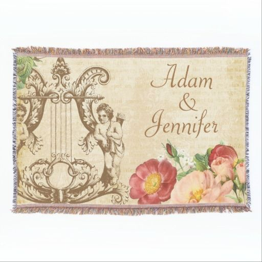Vintage Floral Cute Couple Names Customized Throw Blanket #throw #blankets