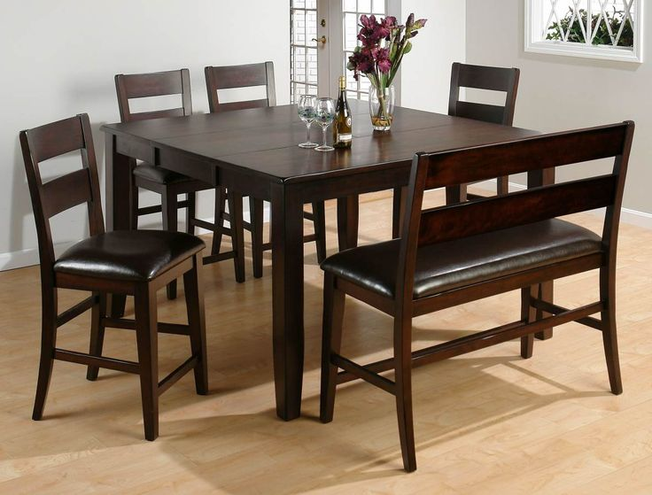 Dark Rustic Prairie Casual Counter Height Butterfly Leaf Table Stool Bench Set By Jofran At VanDrie Home Furnishings