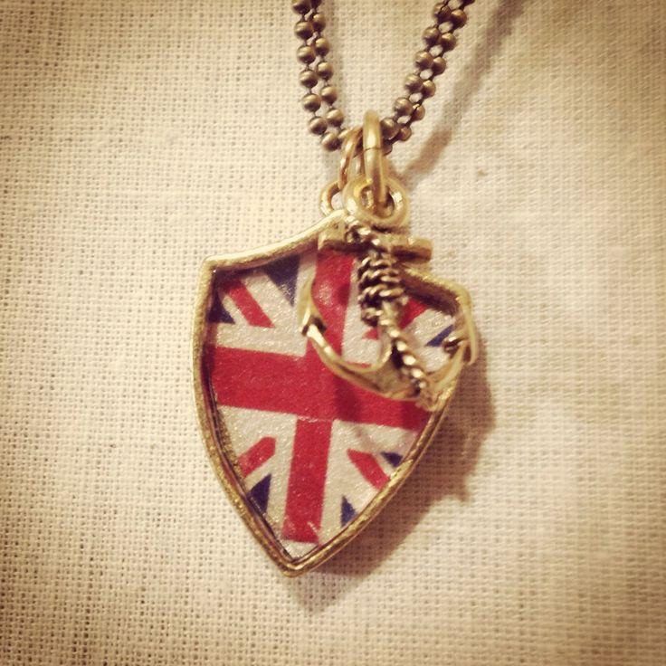 Bellbird Designs Union Flag crest pendant with anchor charm
