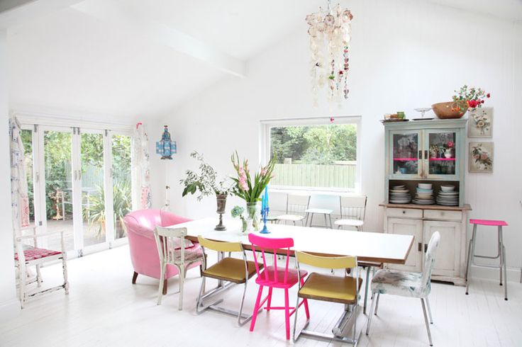 mix & match Love the pink chair and stool